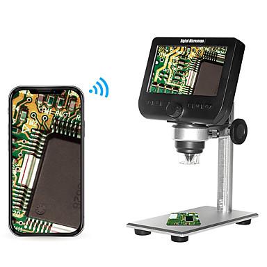 voordelige Microscopen & Endoscopen-2.0mp multifunctionele draadloze 4,3 inch scherm digitale microscoop met 8 instelbare helderheid led-verlichting metalen beugel