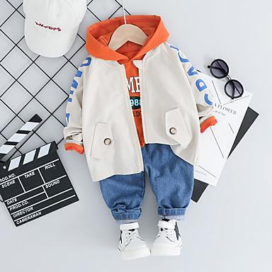 cheap Baby Boys' Outerwear-Baby Boys' Active / Basic Print Print Regular Jacket & Coat Yellow