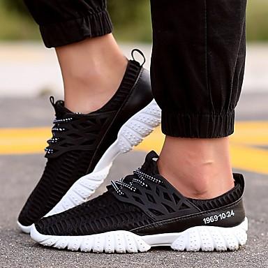 Homens Sapatos Confortáveis Couro Ecológico Primavera Verão Tênis Preto / Branco / Cinzento
