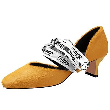 levne Dámské lodičky-Dámské Podpatky Block Heel Čtvercová špička Nappa Leather Jaro & podzim Černá / Světle žlutá