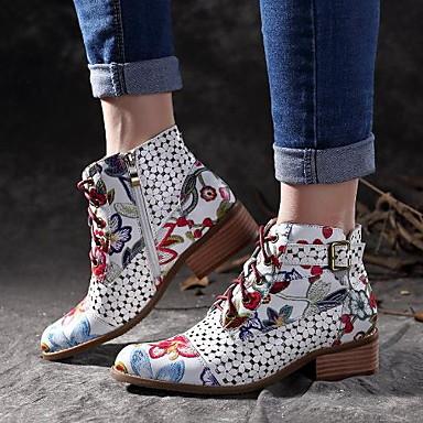 levne Dámská obuv-Dámské Boty Tiskněte boty Kačenka Palec do špičky PU Kotníčkové Léto Černá / Červená
