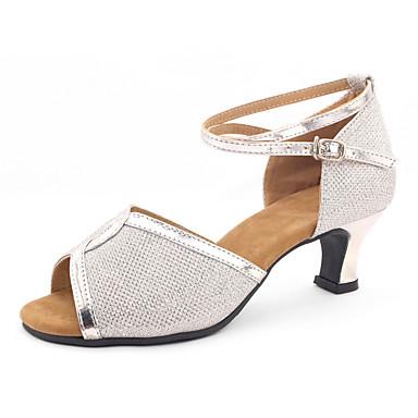 preiswerte Tanzschuhe-Damen Tanzschuhe Kunststoff Schuhe für den lateinamerikanischen Tanz Pailetten Absätze Kubanischer Absatz Schwarz / Gold / Silber
