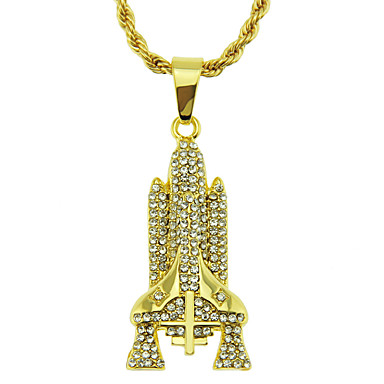 cheap Pendant Necklaces-Men's Pendant Necklace Necklace Classic Statement Bohemian Vintage Trendy Chrome Imitation Diamond Gold Silver 75 cm Necklace Jewelry 1pc For Daily Holiday School Street Festival / Long Necklace