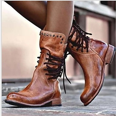 cheap Boots on Sale-Women's Boots Comfort Shoes Flat Heel Round Toe PU Mid-Calf Boots Fall & Winter Black / Brown / Gray