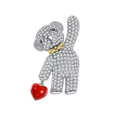 levne Dámské šperky-Dámské Brože Ozdobný Medvěd Luxus Moderní Sladký Elegantní Barevná Umělé diamanty Brož Šperky Zlatá Stříbrná Pro Svatební Dar Street Slib