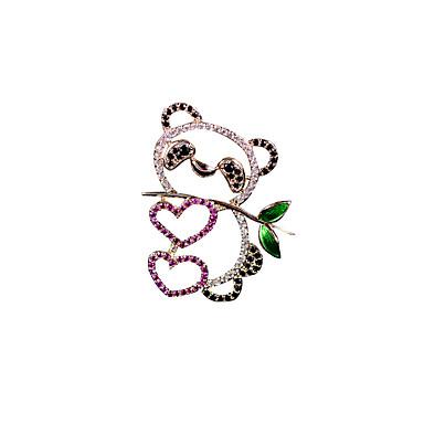 levne Dámské šperky-Dámské Brože Ozdobný Panda Luxus Animák Elegantní Barevná Pozlacené Umělé diamanty Brož Šperky Zlatá Pro Svatební Zásnuby Dar Práce Slib