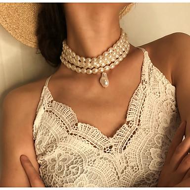 Mulheres Colares com Pendentes Colar colares em camadas Na moda Fashion Elegante Pérola Branco 33 cm Colar Jóias 1pç Para Casamento Presente Diário Feriado Festival