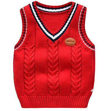 preiswerte Pullover & Strickjacken für Jungen-Kinder Baby Jungen Aktiv Grundlegend Druck Einfarbig Ärmellos Pullover & Cardigan Leicht Blau
