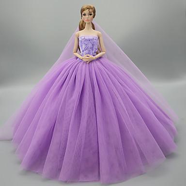 levne Doplňky pro panenky-Šaty pro panenky Party / Večírek Svatba Pro Barbie Pevná barva Světle žlutá Fialová Žlutá Satén / Tyl Polyester 1 X Doll oblečení Pro Dívka je Doll Toy