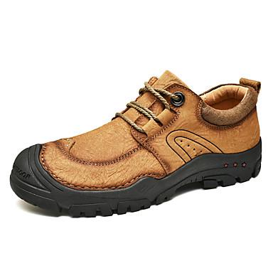 Homens Sapatos de couro Pele Napa Outono & inverno Esportivo / Casual Tênis Aventura Respirável Preto / Marron / Khaki / Não escorregar / Use prova