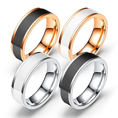 levne Pánské šperky-Pánské Dámské Band Ring Prsten Tail Ring 1ks Bílá Černá Růžové zlato Nerez Kulatý Vintage Základní Módní Dar Šperky