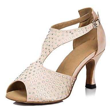 Mulheres Sapatos de Dança Cetim Sapatos de Dança Latina Pedrarias Salto Salto Carretel Personalizável Nú / Espetáculo