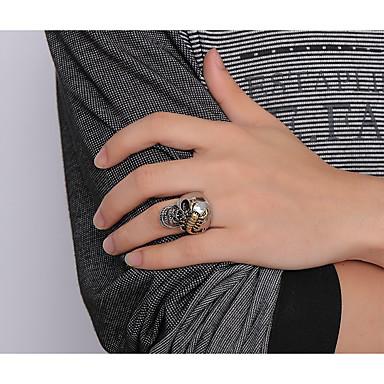 billige Motering-Herre Band Ring Ring 1pc Sølv Titanium Stål Statement Unikt design Vintage Fest Daglig Smykker Skulptur Hodeskalle