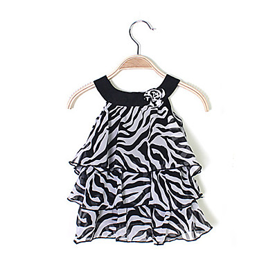 preiswerte Kleider für Babys-Baby Mädchen Aktiv / Grundlegend Geometrisch / Druck Druck Ärmellos Knielang Kleid Schwarz