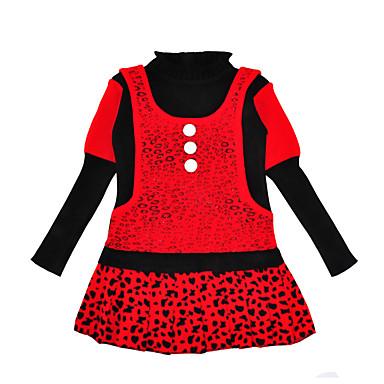 povoljno Odjeća za bebe-Dijete Djevojčice Aktivan / Osnovni Leopard Dugih rukava Do koljena Haljina Red