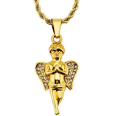 povoljno Modne ogrlice-Muškarci Ogrlice s privjeskom Ogrlica Klasičan Anđelova krila Vintage pomodan Etnikai Moda Krom Imitacija dijamanta Zlato 75 cm Ogrlice Jewelry 1pc Za Dnevno