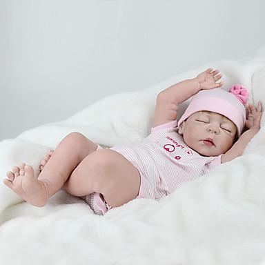 preiswerte Puppen-NPK DOLL Lebensechte Puppe Wiedergeborene Kleinkind-Puppe Baby Jungen Baby Mädchen 22 Zoll Silikon - Sicherheit Geschenk Niedlich Kinder Unisex Spielzeuge Geschenk