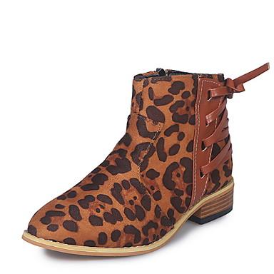 preiswerte Schuhe und Taschen-Damen Stiefel Blockabsatz Runde Zehe Wildleder Booties / Stiefeletten Herbst Hellgrau / Dunkelbraun / Orange