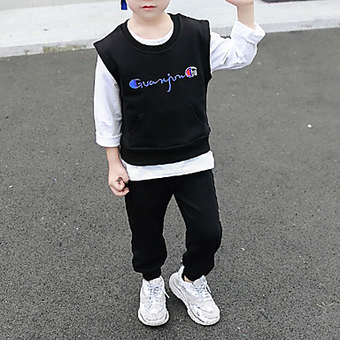 povoljno Odjeća za dječake-Djeca Dijete koje je tek prohodalo Dječaci Osnovni Ulični šik Izlasci Ležerno / za svaki dan Jednobojni Vezeno Dugih rukava Kratka Kratak Komplet odjeće Crn