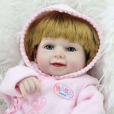 preiswerte Puppen-NPK DOLL Lebensechte Puppe Wiedergeborene Kleinkind-Puppe Baby Mädchen 18 Zoll Sicherheit Geschenk Niedlich Kinder Unisex Spielzeuge Geschenk