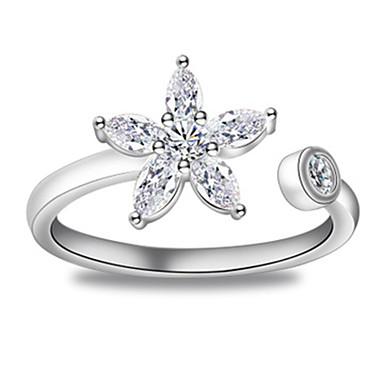 billige Motering-Dame Ring Åpne Ring 1pc Sølv Kobber Sirkelformet Grunnleggende Koreansk Mote Festival Smykker Blomst Flower Shape Smuk
