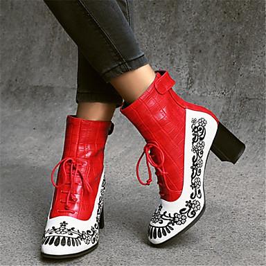 voordelige Dameslaarzen-Dames Laarzen Blok hiel Ronde Teen PU Korte laarsjes / Enkellaarsjes Vintage / Chinoiserie Herfst winter Zwart / Rood / Blauw