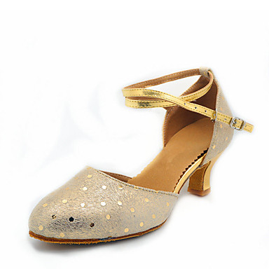 billige Utvalgte tilbud-Dame Dansesko Saueskinn Moderne sko MiniSpot Høye hæler Kubansk hæl Kan spesialtilpasses Gull / Sølv / Ytelse