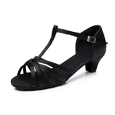 preiswerte Tanzschuhe-Damen Tanzschuhe Satin Schuhe für den lateinamerikanischen Tanz Absätze Starke Ferse Maßfertigung Weiß / Schwarz / Braun / Leistung / Leder