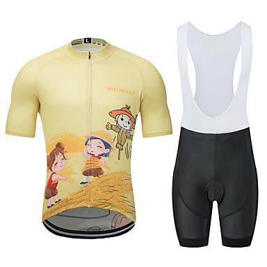 MUBODO Desenho Animado Homens Manga Curta Camisa com Bermuda Bretelle - Preto / amarelo Moto Conjuntos Respirável Pavio Humido Secagem Rápida Esportes Tule Ciclismo de Montanha Ciclismo de Estrada
