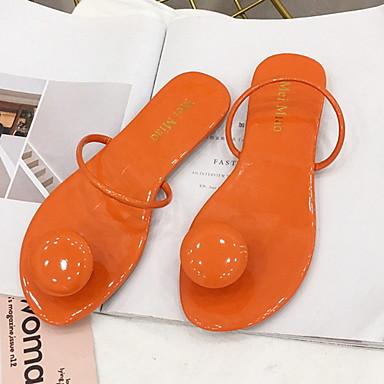 voordelige Damespantoffels & slippers-Dames Slippers & Flip-Flops Platte hak Ronde Teen PU Zomer Zwart / Amandel / Oranje