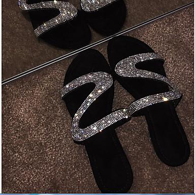 levne Dámské sandály-Dámské Sandály Rovná podrážka Oblá špička Štras PU Léto Černá