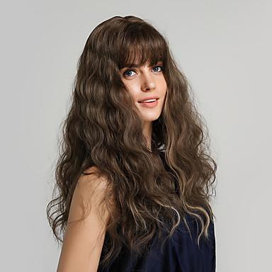 povoljno Perike i ekstenzije-Sintetičke perike Kovrčav Bouncy Curl Asimetrična frizura Uredne šiške Perika Dug Bakar Brown Sintentička kosa 24 inch Žene Žene sintetički Moda Smeđa HAIR CUBE