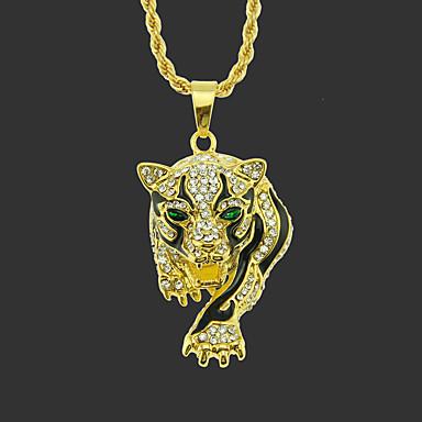 levne Pánské šperky-Pánské Náhrdelníky s přívěšky dlouhý náhrdelník Klasika Tiger Jedinečný design Módní Pozlacené Chrome Zlatá Stříbrná 75 cm Náhrdelníky Šperky 1ks Pro Street