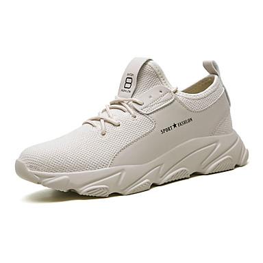 Homens Sapatos Confortáveis Couro Ecológico / Tissage Volant Verão Esportivo Tênis Corrida Não escorregar Preto / Branco / Bege / Atlético