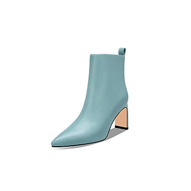 levne Dámská obuv-Dámské Boty Block Heel Palec do špičky Nappa Leather Zima Světle modrá