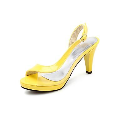 levne Dámské sandály-Dámské Sandály Vysoký úzký S otevřeným palcem Latex / PU Léto Černá / Bílá / Fuchsiová
