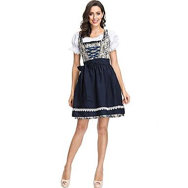 Bavarian Ocasiões Especiais Mulheres International Dia Das Bruxas Espetáculo Fantasias de Cosplay Festa temática Fantasias Mulheres Fantasia de Dança Poliéster Estampa
