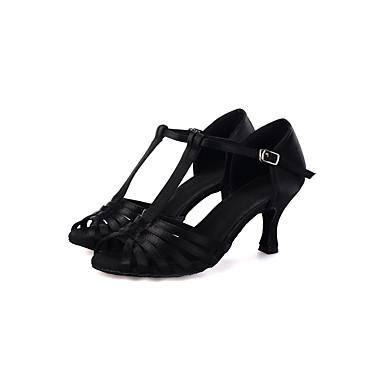 preiswerte Tanzschuhe-Damen Tanzschuhe Satin Schuhe für den lateinamerikanischen Tanz Absätze Keilabsatz Maßfertigung Schwarz / Knackmandel / Armeegrün