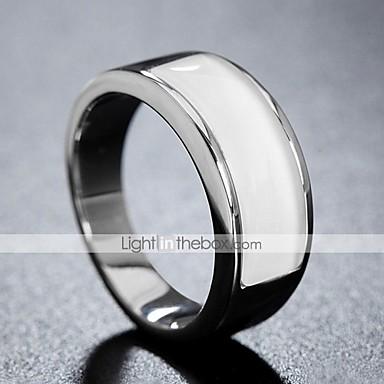 billige Motering-Herre Band Ring Ring 1pc Hvit Sølv Rosa Titanium Stål Sirkelformet Vintage Grunnleggende Mote Daglig Smykker