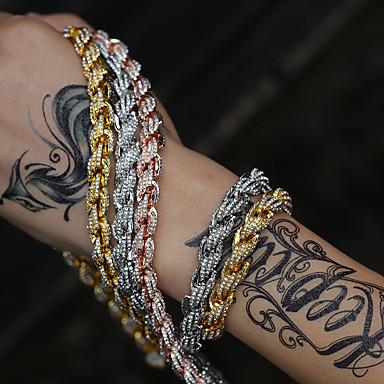 levne Dámské šperky-Pánské Dámské Křišťál Tenisové Náramky Náramek Tenisový řetězec Sen Luxus Moderní Rokové Módní Kámen Náramek šperky Růžové zlato / Zlatá / Stříbrná Pro Dar