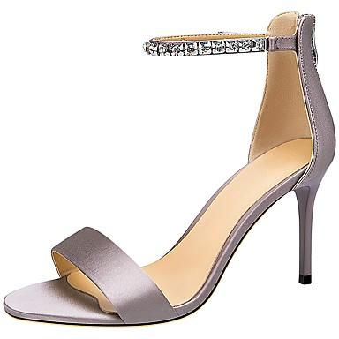 levne Dámské sandály-Dámské Sandály Vysoký úzký Oblá špička Polyester Léto Černá / Světle šedá