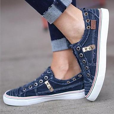 cheap Women's Sneakers-Women's Sneakers Flat Heel Round Toe Canvas Summer White / Purple / Blue