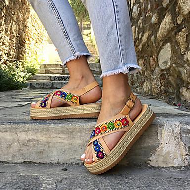 levne Dámské sandály-Dámské Sandály Platforma Otevřený palec PU Na běžné nošení / Minimalismus Jaro & podzim / Jaro léto Duhová