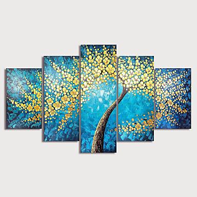povoljno Ulja na platnu-Hang oslikana uljanim bojama Ručno oslikana - Cvjetni / Botanički Moderna Uključi Unutarnji okvir / Pet ploha