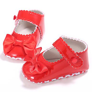 preiswerte Schuhe für Kinder-Mädchen Lauflern PU Flache Schuhe Kleinkinder (0-9 m) / Kleinkind (9m-4ys) Orange / Rot / Rosa Frühling / Sommer