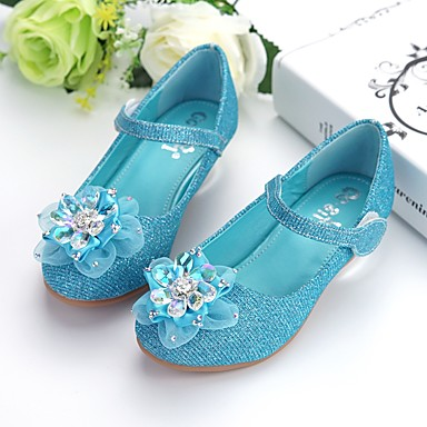 preiswerte Schuhe für Kinder-Mädchen Schuhe für das Blumenmädchen PU High Heels Kleinkind (9m-4ys) / Kleine Kinder (4-7 Jahre) Paillette / Blume Blau Herbst / Winter / Party & Festivität / Gummi
