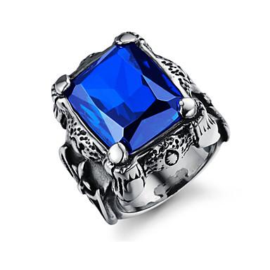 voordelige Herensieraden-Heren Bandring Ring 1pc Donkerblauw Rood Donkergroen Roestvast staal Oostenrijks kristal Stijlvol Vintage modieus Feest Dagelijks Sieraden Sculptuur Kostbaar