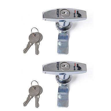 billige Bilalarmer-2stk / sett forkrommet t låsehåndtak tilhenger campingvogn verktøykasse lås