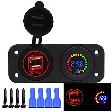 voordelige Automatisch Electronica-12V / 24V 4.2A Auto USB lader Kleurrijk scherm Voltmeter Auto Refit Accessoire Adapter Emitting Colorgreen