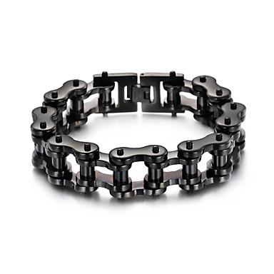 levne Dámské šperky-Pánské Dámské Černá Náramek Link / řetězec Kolo Punk Nerez Náramek šperky Černá Pro Dar Denní Street Klub